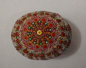Dot painting on stone - hand painted 'Rock Mandala' - Red shades