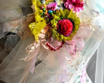 Brooch Romantic Bohemian Gypsy brooch art to wear jewelry unique brooch artsy brooch with flowers mixed media  fairy brooch