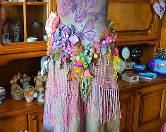 Vintage Style dress,Art To Wear ,Bohemian Romantic,Upcycled dress, Chic,Pretty,boho style dress Fly Butterfly(Reserved For A.)