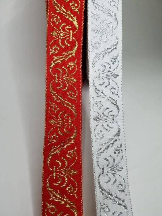 Fleur-de-lis Woven Fabric Trim 1 1//4 inch wide by the yard