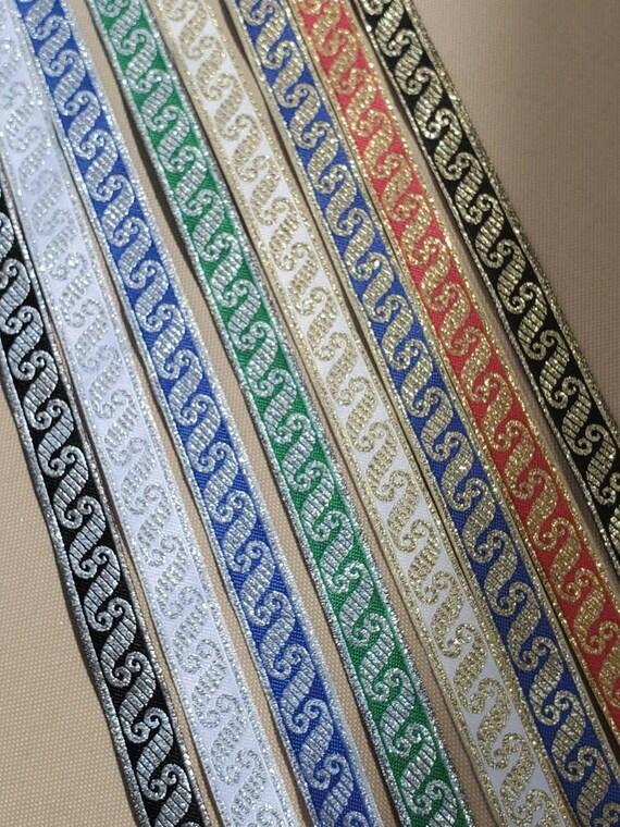 Medieval Folk Fabric woven trim Blue 5//8 inch wide by the yard