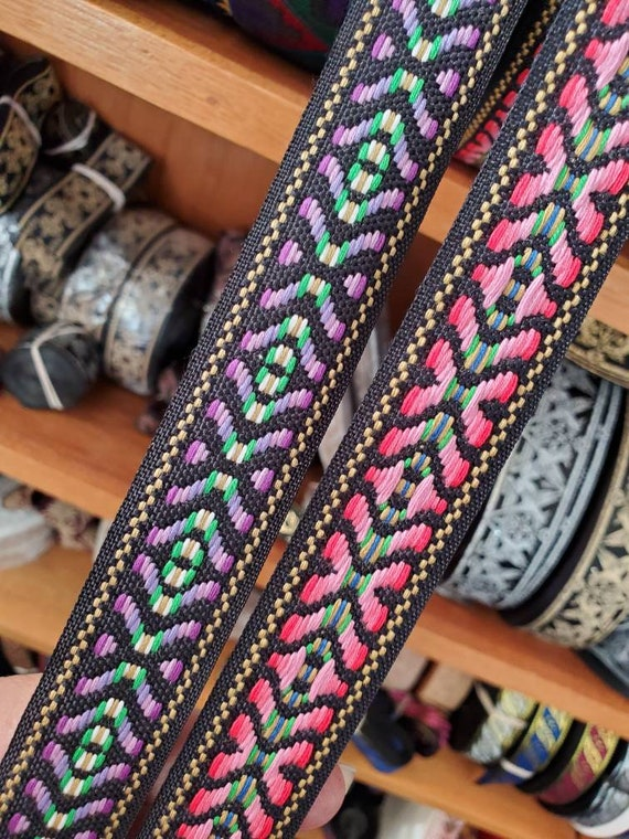 Native Folk Black Fabric Trim 1 1//4 wide by the yard