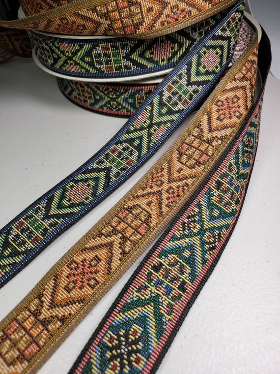 "1 1//8/"" Native weave jacquard fabric trim Sold by the Yard"