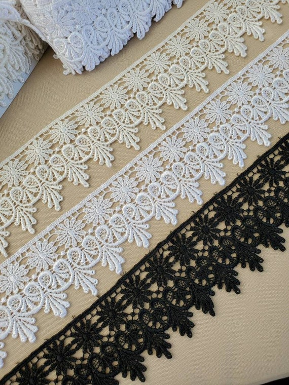 Venise Lace Galloon Ivory 1+7//8 inch sold by the yard