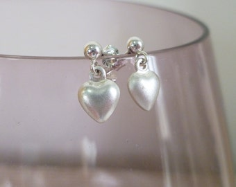 Sterling silver heart drop stud earrings UK made