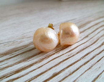 Baroque Peach Pink Pearl stud earrings 14-16mm Fresh water pearls 925 sterling silver with gold plate