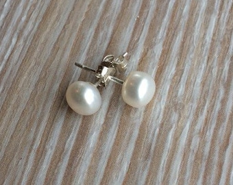 Pearl stud earrings 5-7mm White Ivory Freshwater Pearls and 925 Sterling Silver UK made