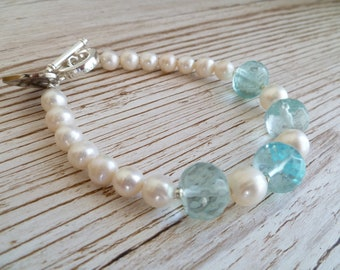 Fresh Water Pearls and Sea Glass Bracelet UK Made