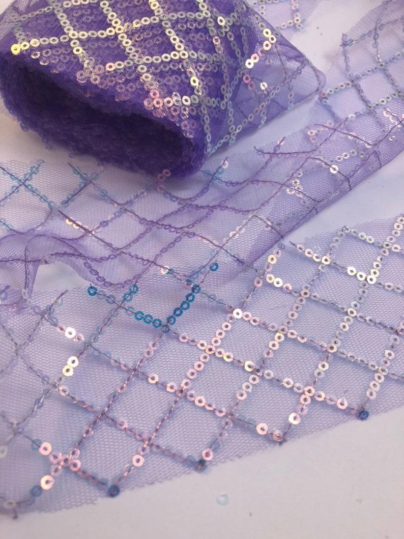 Tulle Ribbon Purple sequins Tulle Ribbon Sparkles Purple Glitter Tulle Purple Tulle