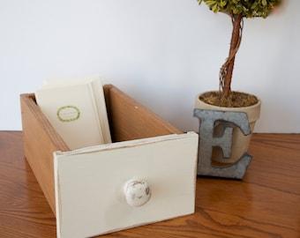 Library drawer, card catalog drawer,  wood storage box,  filing drawer , Vintage Inspired storage box, office storage, Whitewashed