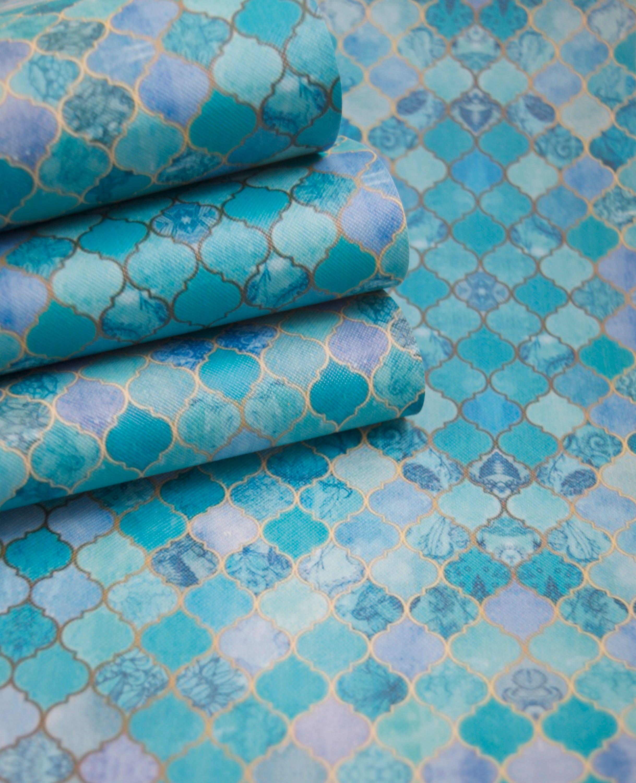 Mediterranean Ocean Blue Tiles Fabric Sheet leatherette 8 x 11   Etsy