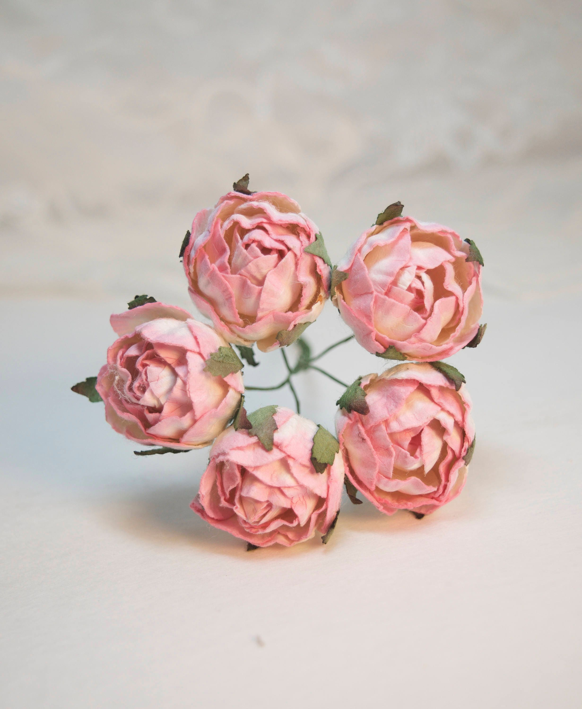 5 Pieces Pink Paper Flowers Peony Paper Flowers Mulberry Etsy