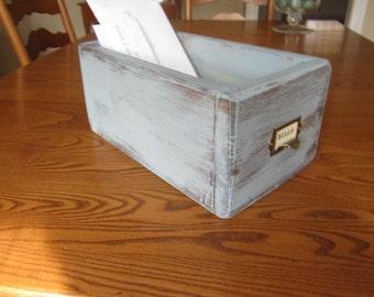 Library drawer -  card catalog drawer -  wood storage box - blue filing drawer - Vintage Inspired