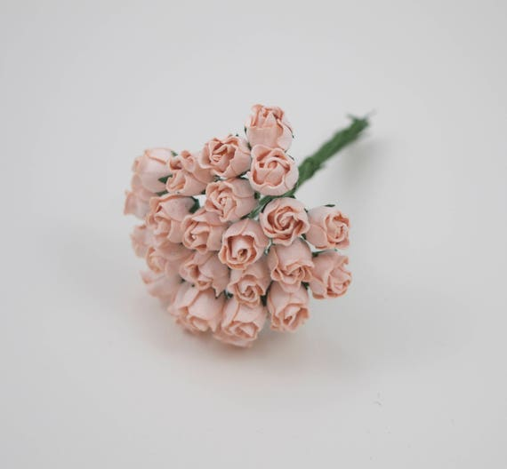 10 pieces mini pale pink rosebud paper flowers pink paper etsy image 0 mightylinksfo
