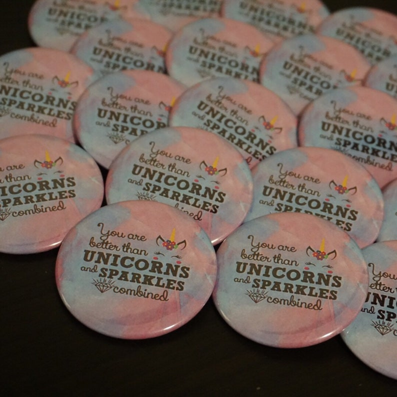 Unicorn Birthday Party Themed Favors for Girls - Inspirational Party Button  Pin - 10 pieces