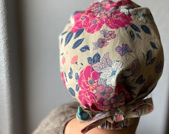 Floral Pixie Scrub Cap, Dogwood Flowers and Roses, Pink, White and Natural, Tie-back Surgical Cap for medium to long hair