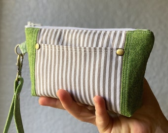 Green and Gray Wallet with Detachable Wrist Strap, Stripes and Linen, Card slots and outer pocket