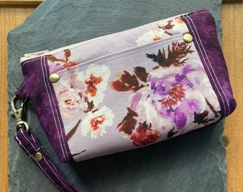 Purple and Lilac Wallet with Detachable Wrist Strap,  Florals, Card slots and outer pocket