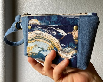 Blue Mountain Landscape Wristlet Wallet with Wrist Strap, Patchwork and Chambray Denim, Card slots and outer pocket, Metal zipper