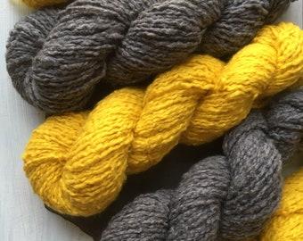 Mustard Yellow/Charcoal Gray Reclaimed Cotton Wool Blend Yarn // Aran Worsted Weight Knitting Yarn // Upcycled Fiber // Reclaimed Yarn