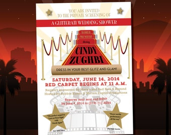 red carpet bridal wedding shower invitations diy printable movie premiere