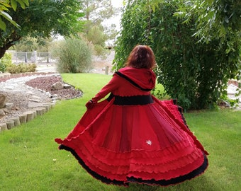 Sweater coat upcycled sweatercoat velvet trim Red and black elf hoodie gypsy duster