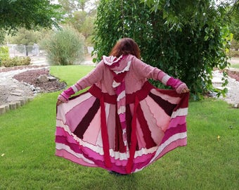 Sweater coat upcycled Sweatercoat  Pink long Elf hoodie duster reconstructed