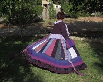 Sweater coat upcycled long purples recycled sweatercoat