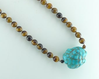 Sleeping Beauty Turquoise & Tiger Eye Natural Gemstone Sterling Silver Necklace