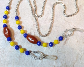 SALE: Team Spirit FOOTBALL Blue & Gold Team Glass Beads Eyeglass Chain MONTANA State University of Michigan