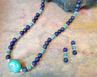 SET: LAPIS LAZULI & Turquoise, Sterling Silver Necklace and Earring Set