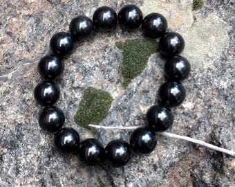 BLACK TOURMALINE Chakra Stretch Bracelet All Natural Semi-Precious Stones Healing Metaphysical