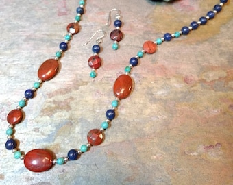 SET: LAPIS LAZULI & Red Jasper, Turquoise, Sterling Silver Necklace and Earring Set