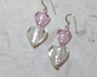SALE: Venetian Glass PINK & White HEART Silver Foil Lampwork w/ Sterling Silver Earrings
