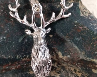 Majestic ELK STAG Face Head Sterling Silver Pendant Unique! STUNNING Wow!