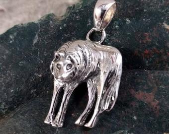 Alpha WOLF DIREWOLF Face Head Sterling Silver Pendant Unique! Wow!
