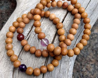 SANDALWOOD Natural Fragrant Bead Stretch Bracelet All Natural Semi-Precious Stones Healing Metaphysical