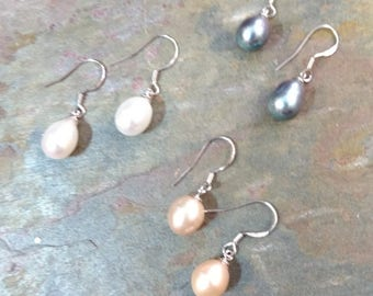 FRESHWATER PEARL Drop Classic Earrings Sterling Silver Natural CHOOSE From: White, Pink, Peacock