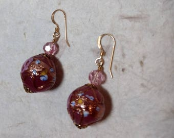 SALE: VINTAGE Venetian Glass PINK Wedding Cake Lampwork & Swarovski Crystal w/ Gold Filled Earrings