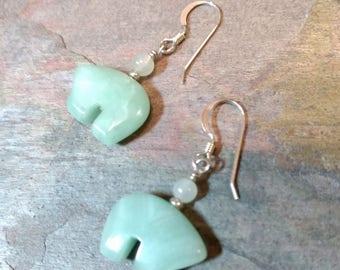 Bear Fetish Zuni Gemstone Earrings Sterling Silver Amazonite & White Quartz