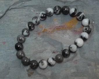 ZEBRA STONE Chakra Stretch Bracelet All Natural Semi-Precious Stones Healing Metaphysical