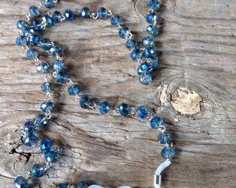 MONTANA Blue GREY, Flash Beads, Czech Glass Beads, Linked Silver Wire EYEGLASS Chain