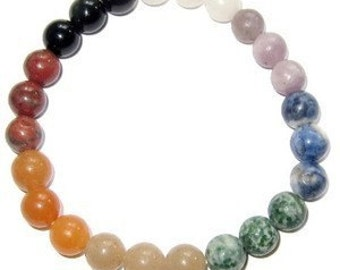 10x Chakra Stretch Bracelet All Natural Semi-Precious Stones Healing Metaphysical
