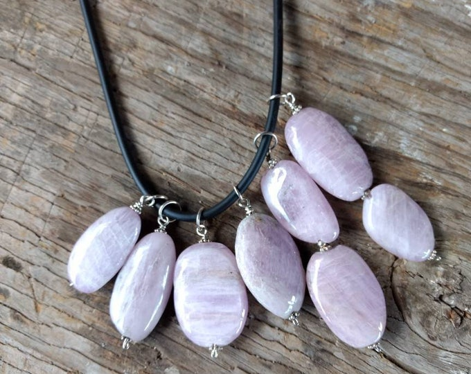LOVELY KUNZITE Natural Bead Pendant w/Sterling Silver on Rubber Cord Necklace