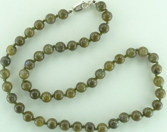 "Labradorite Stone Natural Gemstone Sterling Silver Necklace 29"" Long"