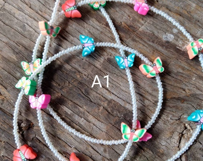 SALE: Pretty BUTTERFLY Butterflies CHOOSE Color Spring Fimo Polymer Clay and Glass Beads Eyeglass Chain