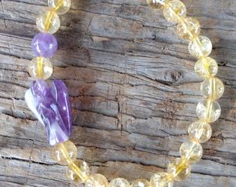 CITRINE w/ AMETHYST Angel Chakra Stretch Bracelet All Natural Semi-Precious Stones Healing Metaphysical