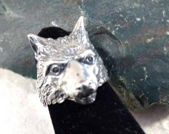 Big WOLF DIREWOLF Face Head Sterling Silver Ring Unique! STATEMENT Adjustable Design