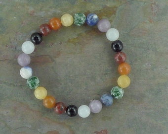 Chakra Stretch Bracelet All Natural Semi-Precious Stones Healing Metaphysical