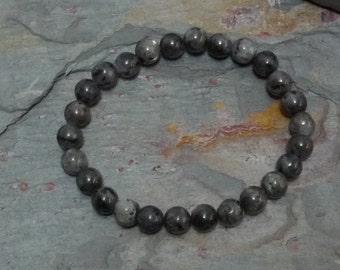 LARKAVITE (BLACK LABRADORITE) Chakra Stretch Bracelet All Natural Semi-Precious Stones Healing Metaphysical